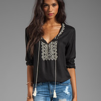 Soft Joie Calathia Embroidered Top in Caviar/Vanilla