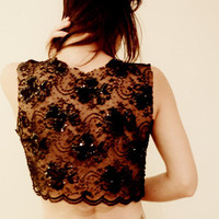 Hand Beaded Black Lace Jacket Cover by SalvatoCollection on Etsy