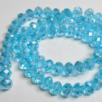 Sky Blue AB Glass Crystal Faceted Rondelle 6x8mm
