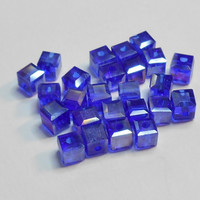 Cobalt AB Square Glass Beads 4mm