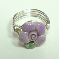 Purple Green Flower Silver Plate Wire Wrapped Ring