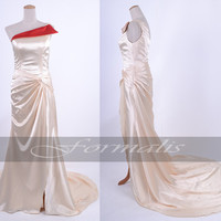A Line One Shoulder Long Satin Champagne Evening Gown, Prom Dresses, Wedding Party Dresses, Formal Gown