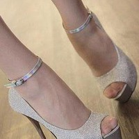 Ladies Fashion Peeptoe High Heel Ankle Strap Shoes In SILVER from NaomiShu