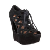 DAADE BLACK SUEDE women's dress high wedge - Steve Madden