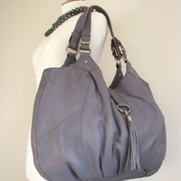 Grey Leather Handbag with Tassle | TheLeatherStore - Bags & Purses on ArtFire
