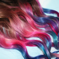 Pastel Tie Dye Tip Extensions Dark Brown/Black 22 by Cloud9Jewels
