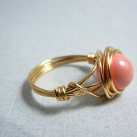 Swarovski Pink Coral Pearl Ring by threestonebirds