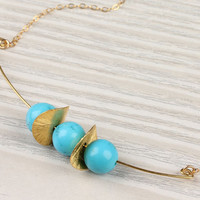 "Turquoise necklace, turquoise and gold, stone pendant, 14k gold necklace,  bridal necklace,  bridesmaid necklace,  wavy disc, ""Thespia"""