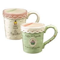 Just Desserts Cupcake Ceramic Coffe Mug - Pink/white Style
