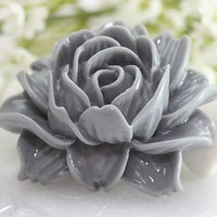 Large Gray Rose Resin Cabochons 2pc