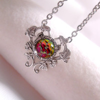 Chameleon Galaxy Heart Pendant Necklace
