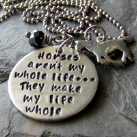 Hand stamped Horse Quote Necklace for Equestrian or Horse Lover.