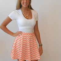 Orange & White Chevron Print Skater Skirt