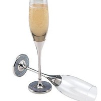 PAIR OF GLITTER GALORE TOASTING FLUTES - GLITTER GALORE TOASTING FLUTES (PR), NICKEL PLATED.