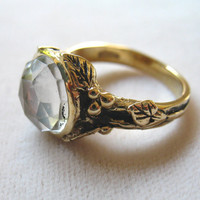 White Topaz and Bronze Woodland Vine Ring by LuraJewelry on Etsy