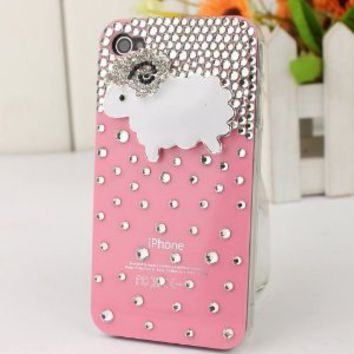 3D Bling Crystal iPhone Case for AT&T Verizon Sprint iPhone 4/4S Pink Sheep: Cell Phones & Accessories