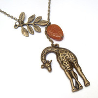 Antiqued Brass Leaf Giraffe Honey Jade  Necklace by gemandmetal