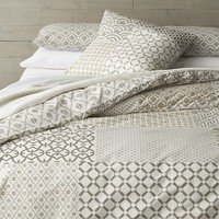 Sereno Hand-Blocked Bed Linens in 20% off All Bedding | Crate and Barrel