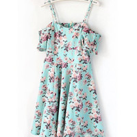 Retro Floral Ruffled Halter Princess Dress
