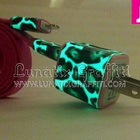 Leopard Cheetah Print Glow in the Dark iPhone 5 Charger - 2-in-1 Glow in the Dark Red iPhone Charger - iPad Mini Charger - iPod Charger
