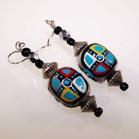RAINBOW MEDICINE Ornate Dangle Handmade, Hand Painted Beaded Earrings