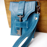 Leather iPhone Cell Case with Antique Key and Wrist Strap - Glazed Turquoise - MADE TO ORDER iPhone 5