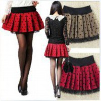 New Fashion Korean Style Women's Polka Dot lace cake skirt pleated skirts