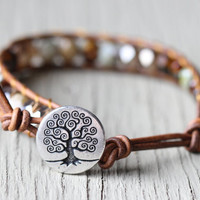 Tree of Life Leather Wrap Bracelet : Neutral, Earth-Toned Beaded Bohemian Friendship Cuff, Adjustable, Natural, Tree Button