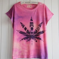 Gradient Colour Maple Leaf T-shirt