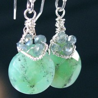 Alexandrite Chrysoprase Earrings Sterling Fine Silver Wire Wrapped | bohowirewrapped - Jewelry on ArtFire