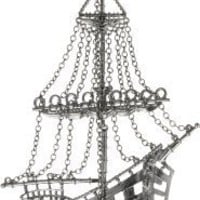 "HAN CHOLO ""Shadow Series"" Gun Metal Plated Brass 3D Ghost Ship Necklace"