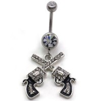 Western Cowgirl Dual Revolver Pistol Gun Dangle Belly Button Navel Rings High Polish Silver Tone Body Fashion Jewelry 14 Gauge