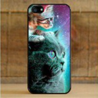 Fits Apple iPhone 5 Galaxy Stellar Nebula Show Cats Case Cover protector Kittens