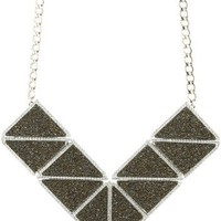 Martine Wester Jewelry ''Disco'' Crystal Fabric Asymmetric Necklace