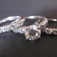Have You Seen the Ring?: Platinum Wedding Band Set -1.01ct Center Stone