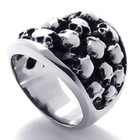 KONOV Jewelry Gothic Stainless Steel Skull Biker Men's Ring, Silver Black (Available in Size 8, 9, 10, 11, 12, 13) (with Gift Bag):Amazon:Jewelry