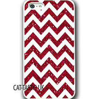 Iphone 4 4s 5 case cover apple glitter patern red chevron sparkle