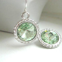 Swarovski Rivoli Earrings in Peridot Green by JulieEllynDesigns