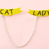 Cat Lady Sweater Brooch Set w/ Chain