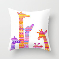 Giraffe Silhouettes in Colorful Tribal Print Throw Pillow by Annya Kai