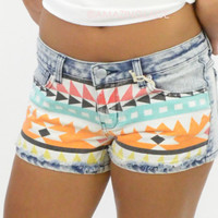Buckhead Denim Aztec Tribal Print Shorts