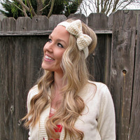 Vanilla Bean Cream Bow Headband with Natural Vegan by HillNTrees