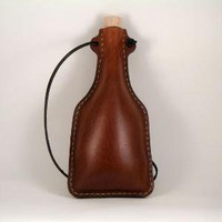 Leather Flask Large Natural by hardwickleathergoods on Etsy