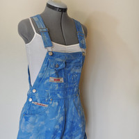 Blue Bib OVERALLS  - Hand Dyed Sky Blue Squeeze Cotton Denim Overalls Shorts - Hipster - Size Small (32  waist)