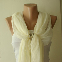 Cream Ivory Cotton Spring Scarf by Periay on Etsy