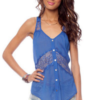 Lacerback Button Down Shirt in Blue :: tobi