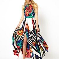 ASOS | ASOS Stripe Sleeveless Floral Maxi Dress at ASOS