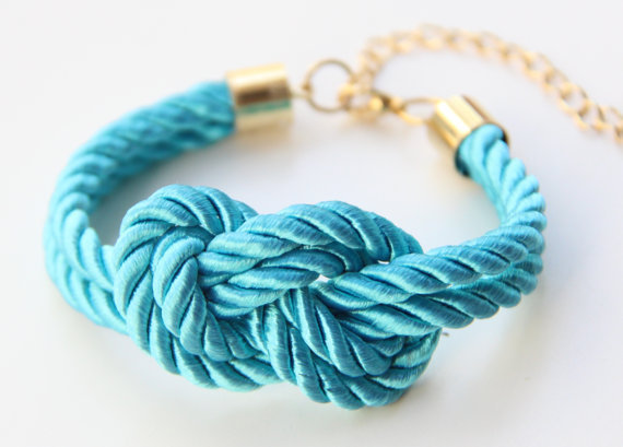 Turquoise silk warp Knot Bracelet  24k gold plated by TheUrbanLady