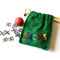 Vintage Jacks in Handmade Felt Drawstring Bag