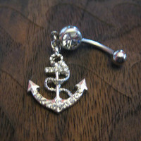 Fashion Anchor Crystal Rhinestones Belly Button Ring